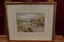 Walter Duncan (1848 - 1932), watercolour - punting