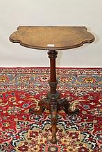 Victorian inlaid walnut wine table with shaped bur