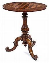 Victorian burr walnut games-top occasional table,