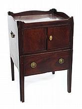 George III mahogany bedside cabinet with shaped ga