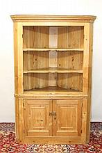 19th century pine standing corner cupboard with sh