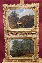 19th century Barbizan School pair oils on canvas -