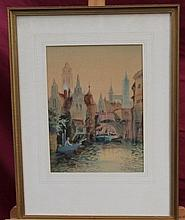 S. C. Morley, late Victorian watercolour - Bruges,