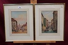 E. Lewis, two pairs of Victorian watercolours - la