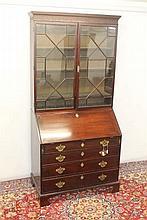 George III mahogany bureau bookcase with blind fre