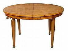 Swedish burr elm extending dining table, the oval