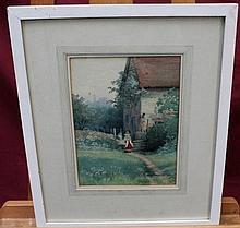 F. Drummond, late Victorian watercolour - three gi