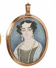 Victorian oval portrait miniature on ivory - a sty