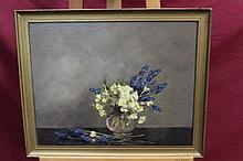 Alice Mary Burton (1893 - 1968), oil on canvas - still life of primros