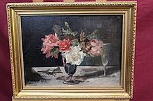 Alice Mary Burton (1893 - 1968), oil on canvas - still life of roses i