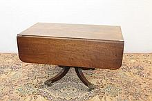 Good Regency mahogany breakfast table, rounded rectangular drop-leaf t