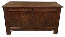 Late 17th / early 18th century carved oak coffer with moulded rectangu