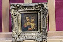 19th century Continental School oil on panel - Mary and Child, in gilt