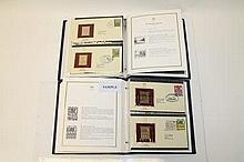 Stamps - four albums 22ct Golden Replica G.B. Cove