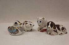 Four Royal Crown Derby paperweights - Bank Vole, D
