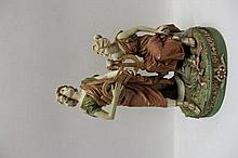 Royal Dux porcelain figure group - two figures wit