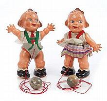 EDI Walking Dolls - a small boy and girl in felt c