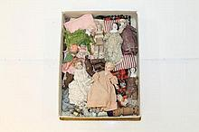Seven dolls' house dolls - selection including chi