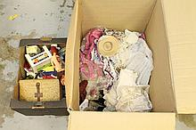 Selection of dolls including one wax doll, three b