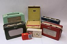 1960s Ekco green plastic radio, three Roberts port