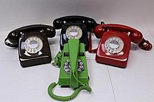 Three B.T. telephones 8746 models and a lime green