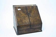 Victorian two door sloping front burr walnut desk