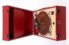 HMV 101 Portable Gramophone - circa 1926, red leat