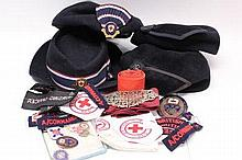 British Red Cross Society hats, badges, nurses' bu
