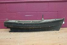 19th century wooden model of a boat hull, 119cm lo