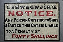 Cast iron L & NW & GWJT RYS Warning sign