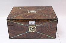 Victorian burr walnut writing box with crossbanded