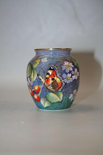 Moorcroft enamel trial vase with butterfly and