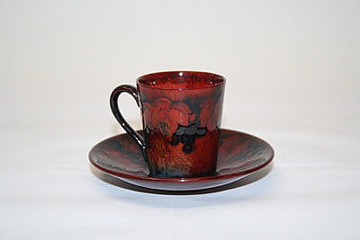 Moorcroft pottery flambé coffee can and saucer -
