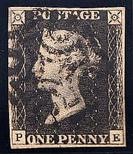 QUEEN VICTORIA: LINE ENGRAVED 1840 1d black, plate 9, P-E, used with b