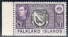 FALKLAND ISLANDS 1938-50 £1 black & violet U/M, fine. SG 163 Cat £130