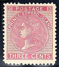PRINCE EDWARD ISLAND 1872 3c rose with stop between ''Prince Edward''
