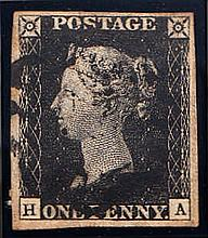 QUEEN VICTORIA: LINE ENGRAVED 1840 1d black, H-A, used with black malt
