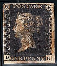 QUEEN VICTORIA: LINE ENGRAVED 1840 1d black, D-K, used, close at left