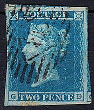 QUEEN VICTORIA: LINE ENGRAVED 1841 2d blue, plate 3, G-D, used, 4 good