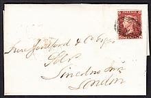 QUEEN VICTORIA: LINE ENGRAVED 1841 1d red, M-A, lavender tinted, tied