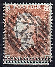 QUEEN VICTORIA: LINE ENGRAVED 1854-57 1d red used showing double perfo