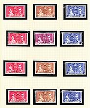 OMNIBUS ISSUES 1937 Coronation Mint collection on album pages, near co