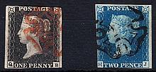 QUEEN VICTORIA: LINE ENGRAVED 1840 1d black, Q-B, and 1840 2d blue, pl
