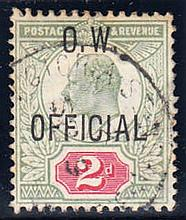 Office of Works 1902-03 2d yellowish green & carmine-red F/U with Victoria Street cds, fine. SG O38 Cat £450 (see photo)