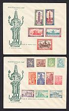 1949-52 set affixed to pair of FDCs but uncancelled, some toning.  SG 309-24 Cat £300 as mint. (2 items)