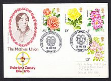 1976 Roses Mothers Union London SW1 Official FDC. Slight damage on reverse of cover, otherwise fine, typed address label. Cat £100