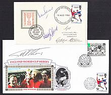 Football: 1966 England Winners FDC signed by Martin Peters, Nobby Stiles & George Cohen, also 1966 Football Benham cover signed by Geoff Hurst. (2 items)