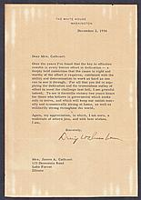 Dwight Eisenhower: 1954 typed letter signed by Dwight Eisenhower, fair condition. With R & R Cert. Cat £450