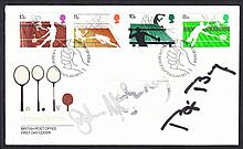 Tennis: 1977 Racket Sports FDC signed by John McEnroe & Bjorn Borg, also John McEnroe autographed 18 x 13 cm colour photo. (2 items)