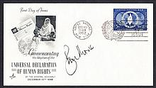 Roger Moore: Autographed on USA 1952 Human Rights FDC. Unaddressed, fine. Cat £150